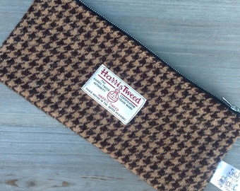Brown & caramel dogtooth Harris tweed pencil pouch pencil case zip pouch.