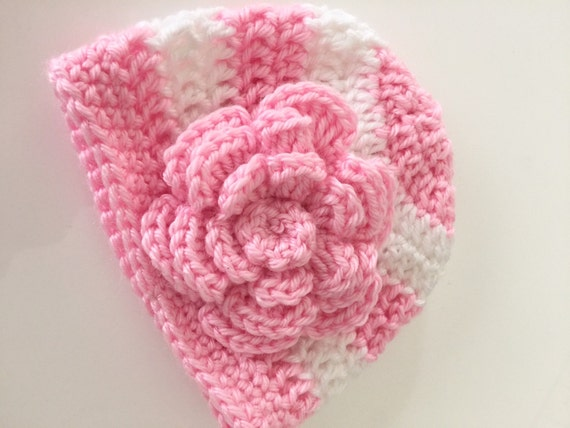 Baby Girl Crochet Hat Striped Baby Hat With Flower Pink and White Striped Baby Crochet Hat