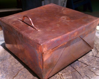 Pure Copper Box with Hinge and Handle