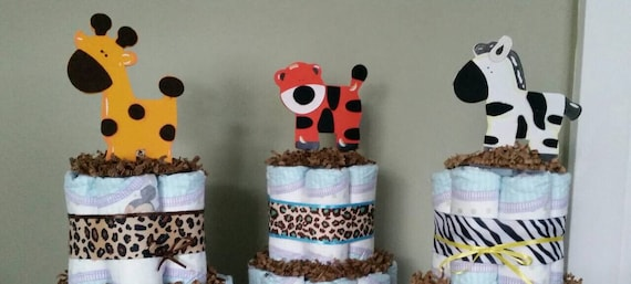 Set of 6 Baby Shower jungle theme diaper cake centerpieces