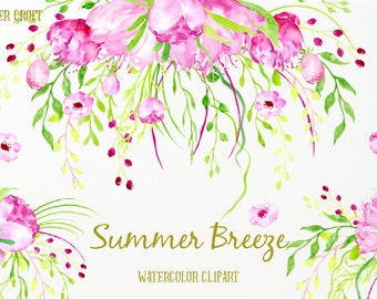 Watercolor clipart  Summer Breeze - Hand painted watercolor pink and purple flowers and weeping floral arranements for instant download