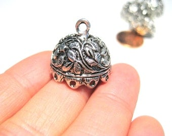 Antique Silver Large Tassel Caps Cone Bead Caps 19mm