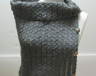 Gray color- Chunky- Cowl -Scarf- Knit Loop Neck Warmer - Scarf -Hood - Hand Knit Cowl -  Scarf Chunky Crochet Scarf