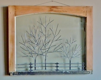 "Frame #111 - Recycled Window Frame Sculptures -  28"" x 23"""