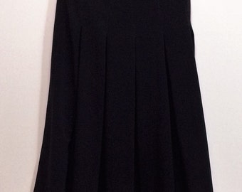 "vintage black pleated skirt with buttons ""CACHAREL"" made in France classical design skirt viscose skirt"