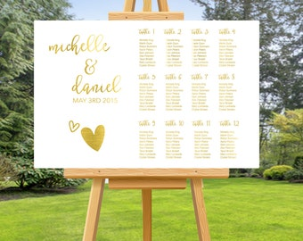 Gold Foil Wedding SEATING CHART, wedding seating chart, custom wedding sign, custom seating chart, personalised wedding signage