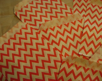 25 Red and White Chevron Candy Bag for Birthday Party, Wedding Shower, Baby Shower, Paper Favor Bag,  Cookie Treat Wrap