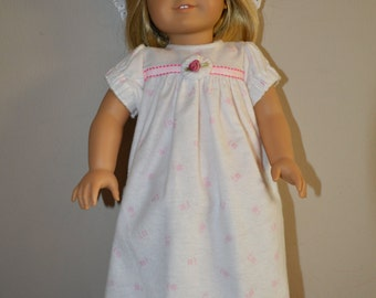 Nightgown and night cap for american girl doll