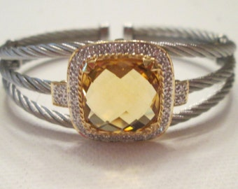 Charriol 18k Gold and Stainless Steel Diamond and yellow Citrine Bracelet