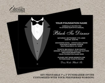 Black Tie Dinner Fundraising Invitations | Printable Tuxedo Fundraiser  Invitation | DIY Printable Gala Or Black  Prom Ticket Template