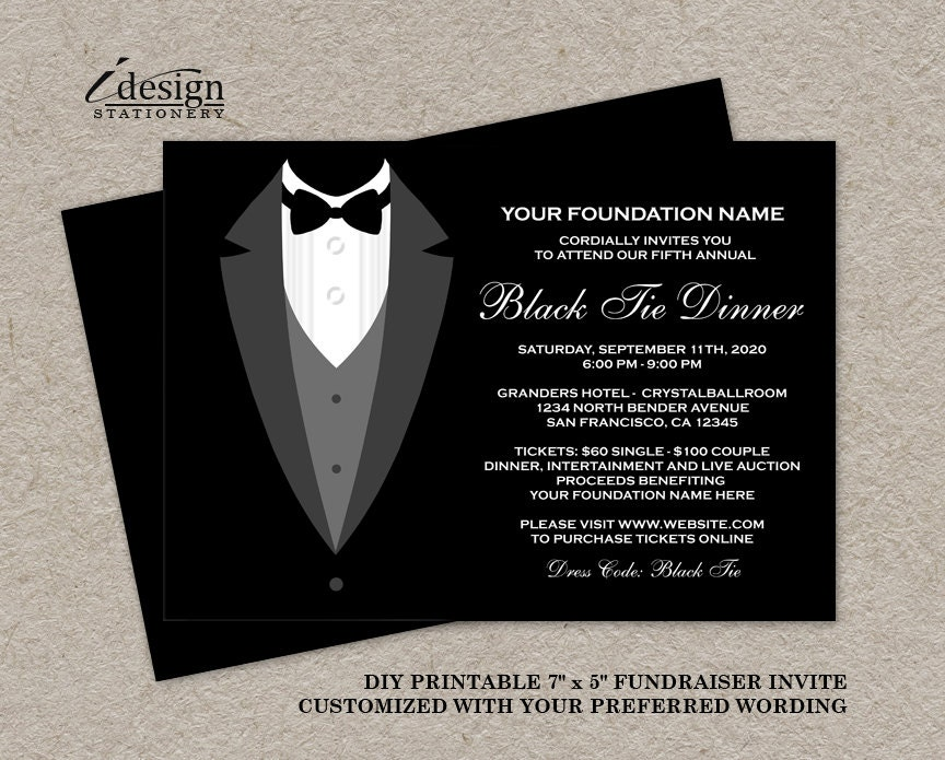 Black Tie Dinner Fundraising Invitations Printable Tuxedo – Gala Invitation Template