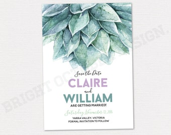 Succulent save the date card 5x7 | digital download