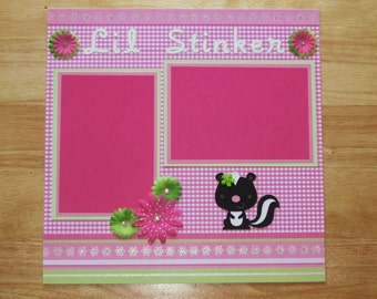 Girl Scrapbook Page - Girl Scrapbook Layout - 12 x 12 Scrapbook - Little Stinker - Daughter -Baby Girl - Granddaughter - Premade Layout