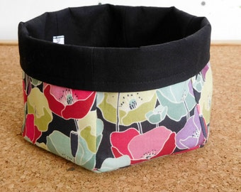 Poppies ~ Storage Box, Storage Basket, Fabric Basket, Fabric Organizer, Storage Bin