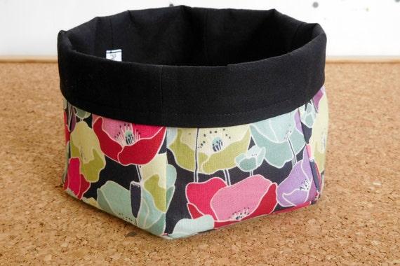 Poppies ~ Storage Box, Storage Basket, Fabric Basket, Fabric Organizer, Storage Bin