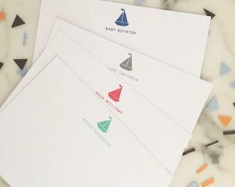 Sailboat Stationary - Nautical Boys Stationery Set of 20 Flat Note Cards
