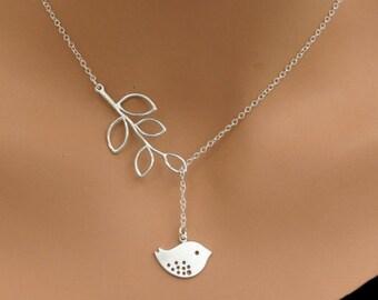 LARIAT BIRD | Branch Necklace  | Silver  Lariat Necklace | Handmade Jewelry |Gift under 25|  Delicate necklace| Minimalist |