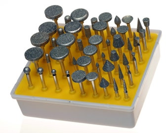 50 Piece Diamond Burr Set, 1/8-Inch Shank, Grit 120, Rotary Tool For Many Hobbies Such As Glass, Tile, Ceramics, Metalwork Or Hard Surface