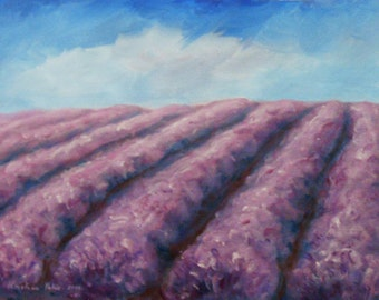 Lavender Field Landscape Painting,  Acrylic on Canvas, Painting on Canvas, Wall Decor