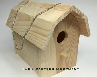 Large Plain Wood Birdhouse with Removable Roof. Unfinished Wood Barn Birdhouse with Removable Roof.