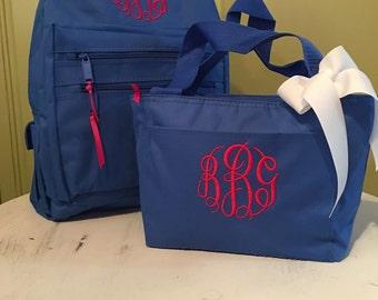 Monogrammed backpack monogrammed lunch box monogrammed lunch tote personalized backpack