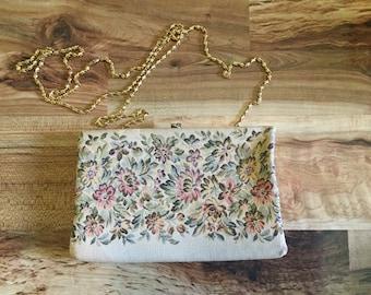 Vintage H 1 Tapestry clutch beige floral purse cross body boho bag