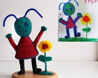 Child's Art - Needle Felted Sculpture of your kid drawing