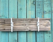 Lake house decor, boat cleat rack, towel holder, wood dock plank rack ,recycled wood, beach house decor, key hook, shabby chic decor,