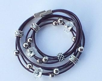 Wrap Bracelet, Leather Bracelet, Beaded Leather, Cord Bracelet, Leather Wrap Bracelet, Purple Leather Bracelet, Double Wrap Bracelet