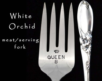 Hand Stamped  Fork Vintage Meat Fork Queen B White Orchid Engraved Silverware, Silver Plated Serving Utensil, Funny Forks Something Old