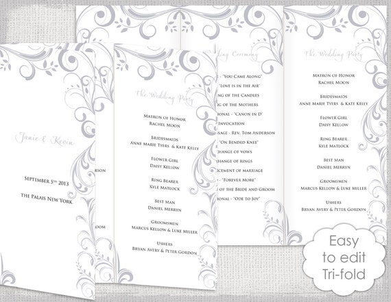 wedding programs template trifold silver gray
