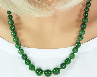 Graduated Real Jade Necklace,Hand-Knotted,Jade Beaded Necklace,Jade Necklace,Bridal Jade Necklace,Bridal Necklace,Jade and Gold,Genuine Jade