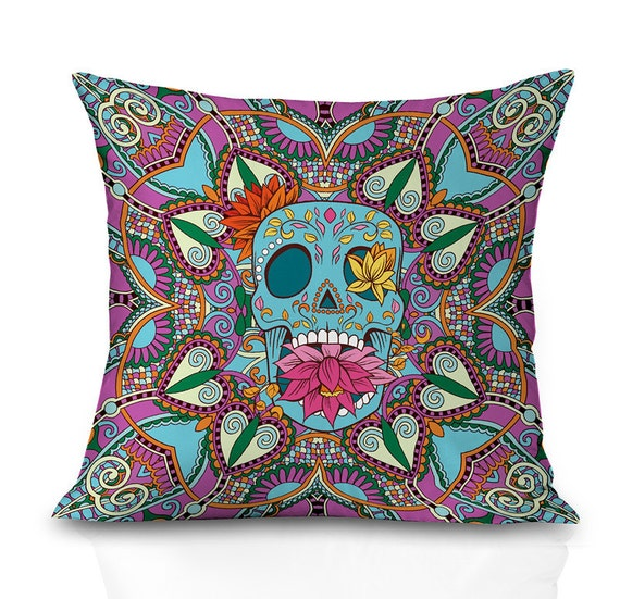 Sugar skull throw pillow covers skull pillow cover both sides print any sizes