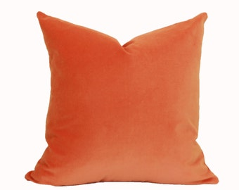 Orange velvet throw pillow cover 18x18 pillow cover 20x20 pillow cover Orange velvet Orange pillow cover