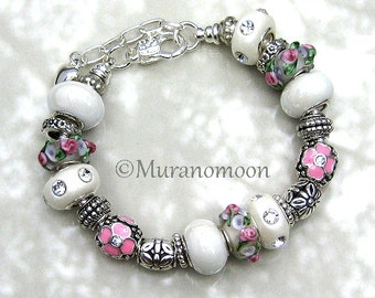 Rose Pink White European Bracelet Flower Floral Glass Bead Lampwork Charm Bracelet Dangle Heart Charm Mother Nana Grandma Jewelry #EB1436