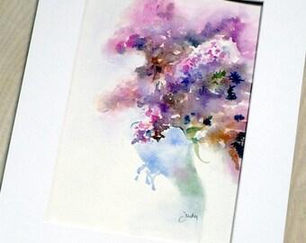 Lilacs in vase. Original watercolour.