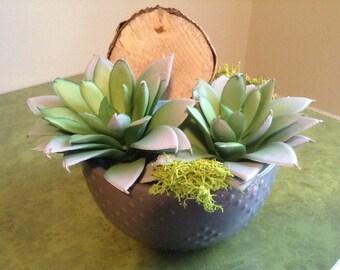 Succulent Arrangement,  Small Succulents, Tiny Plant, Fake Plants, Succulents, Faux Plan, Small Plant, Succulent in Grey Vase