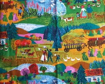 Lovely vintage material of Swedish countryside / farm scene by 5th Avenue Design Inc Color