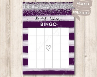 Silver and Plum Bridal Shower Bingo Cards, Silver Glitter, Watercolor Purple Plum Bridal Shower Party Game Printable, INSTANT DOWNLOAD
