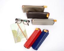 makeup bag & pencil case    gold pouch   artist case   leather makeup bag   vegan zipper pouch   leather pencil pouch   pencil case leather