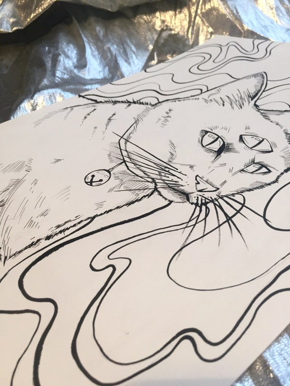 The Knowing Cat ORIGINAL DRAWING