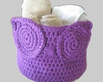 Handmade Crochet Owl Basket, Owl Nursery Decor, Owl Storage Bin, Crochet Basket