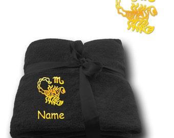 Blanket embroidered with Star sign Scorpio  + Name