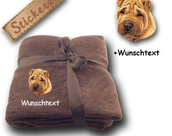 Fluffy Blanket embroidered with CHINESE SHAR-PEI + Name