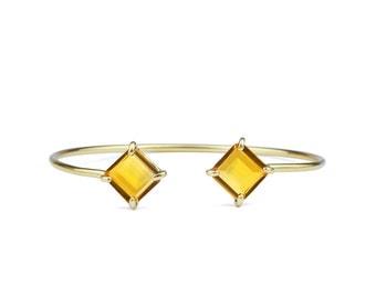 SUMMER SALE -  Gold bracelet,gold bangle,Citrine bracelet,square bracelet,prong stone bracelet,gemstone bracelet,November birthstone