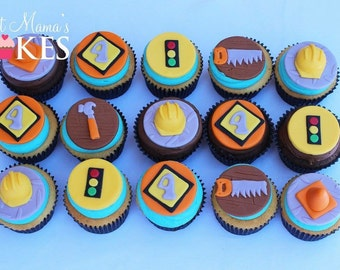12 - Construction themed fondant cupcake toppers