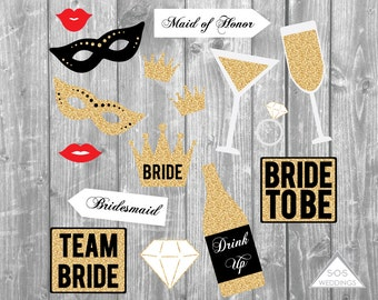 Bachelorette Photo Booth Signs, Bridal Shower Photobooth, Wedding Photobooth, Photobooth Props, Printable PDF, Instant Download,Gold Glitter