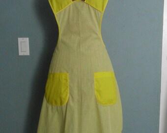 Apron, 1940's Retro Gingham Yellow