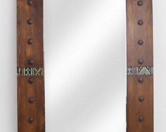 Pueblo Tooled Leather Rustic Mirror-26x38 inches-Handmade-Wall-Hallway Mirror-Vanity-Navajo-Southwest