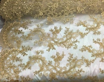 Gold corded french design-embroider with sequins on a mesh lace fabric-prom-nightgown-decorations-sold by the yard-